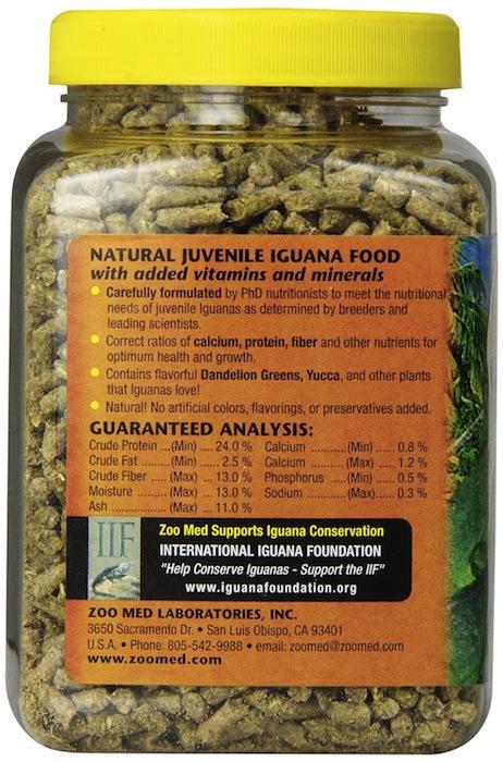 Granulés naturels pour iguanes juvéniles dos - Zoomed®